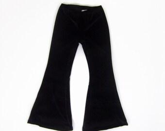 Girls Black Velvet Bell Bottom Pants, Bell Bottoms, Velvet Flares, Velvet Pants, Pants -Sizes 2/3, 4/5, 6/6x, 7/8, 10/12 Ready to Ship
