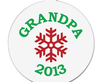 Personalized grandpa pregnancy announcement snowflake Christmas ornament CGPPACO