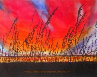 Sunset Art, Sunset Print, Beach Print, Beach Art, Nautical Art, Coastal Decor, Sunset Print, Beach Decor, Beach Wall Art, Sunset Painting