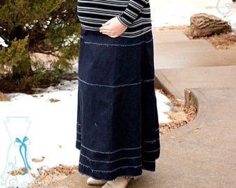 Maternity Maxi Skirt - Distressed Jean - Modern Modesty - Women's Stretch Denim - Each skirt CUSTOM made - Slow Fashion - Aline - No Split