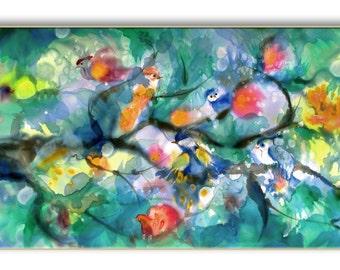 Cheerful painting, cute birds, gift for wedding, family life, giclee print on canvas, bird flock, bevy, multicolor, positive joyful art