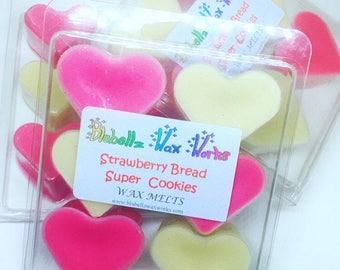 Strawberry Bread Super Cookies Wax Melts, Bakery Scents, Strawberry Candles, Sugar Cookie Scents, Wax Melt Tarts, Wax Hearts