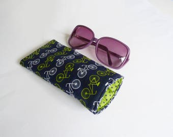 Glasses case, bike fabric, navy blue green and white bicycle fabric, cotton case