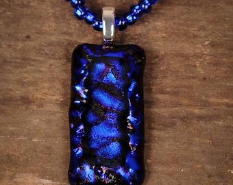 3D Cobalt Blue Fused Glass Pendant