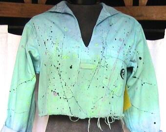 BANANA MOON CREATION Hand painted and dyed vintage sailor shirt