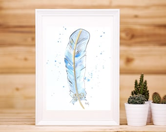 Watercolor poster, feather illustration watercolor, gold and blue, minimalist, blue feather drawing, artist Scott reproduction paper