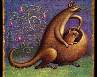 Mother's Day art print, Bursiform: Mother kangaroo, joey in pouch. Gift for Mom, Baby shower gift, Alphabet letter B, Cute baby animal art