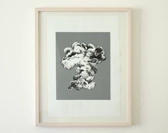 Original screen print poster cloud Grey