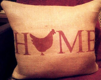 Chicken Pillow, Burlap Chicken Pillow, Farmhouse Pillow, Home Pillow, Chicken Decor, Rooster Decor, Country Primitive, Burlap Pillow, Farm