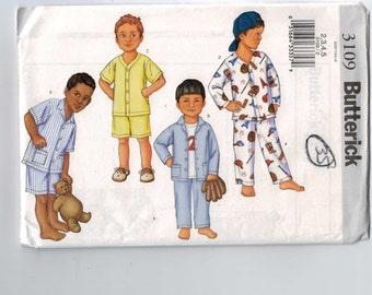 Boys Sewing Pattern Butterick 3109 Easy Pajama Pants Top Pjs Kids  Size 2 3 4 5 Breast 21 22 23 24 UNCUT