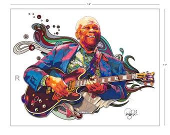 B.B. King, Blues Guitar, 11x14 in, 29x36 cm, Signed Art Print w/ COA