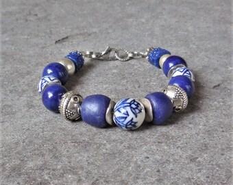 Dutch African Bracelet, Bohemian Bracelet, Ethnic Jewelry, Delft Blue Bracelet, Beaded Bracelet, Tribal Boho Jewelry, Gift for Her