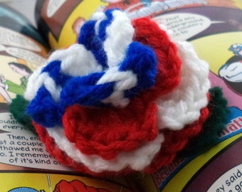 Crocheted Rose Lapel Pin - Red, White, and Blue (SWG-PL-HEAM02)