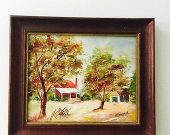 Vintage original painting Australia Farmhouse