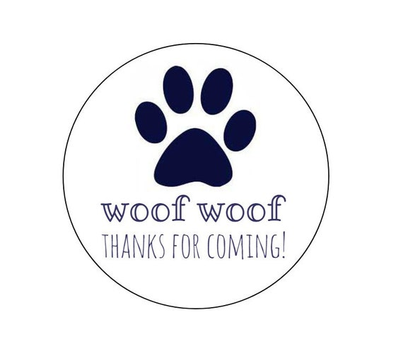 20 navy paw print stickers thanks for coming woof woof thank you tags puppy theme dog tags dog stickers paw print labels party from thepartypenguin
