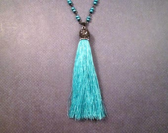 Aqua Tassel Necklace, Glass Beaded Chain, Pave Rhinestone Bead Cap, Gunmetal Silver Necklace, FREE Shipping U.S.