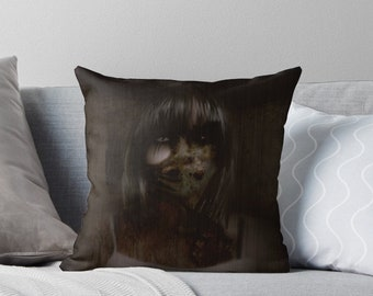 Gothic Horror Throw Pillow, Floor Pillow, Pillow Case and Insert - 3 Sizes Available! - Skin Deep