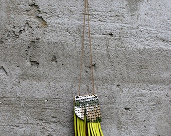 Geometric leather Pendant-Graphic Minimalist- Modern Jewellery-Colorful Statement Jewelry- Tribal Leather Jewelry-Long Fringe