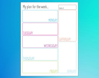 My Plan for the Week a Weekly Planner Printable Organizer
