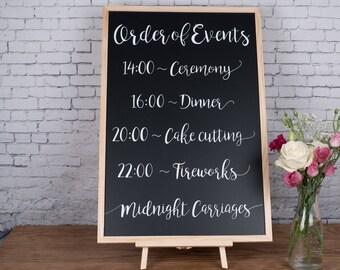 Order of Events - Personalised Wedding Chalkboard