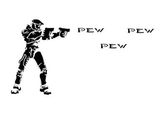 Video Game Decal. Pew Pew. XBox 360. XBox One. Playstation. First Person Shooter. Funny. Car Decal. Wall Decal. Birthday Present. Gift. Teen