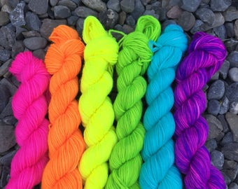 Rainbow Mini Skein Set, Sock Yarn Mini Skein Set of 6, Neon Mini Skein Set, Fluorescent Mini Skeins Set, 6 Mini Skeins, PK Yarn, PK Minis