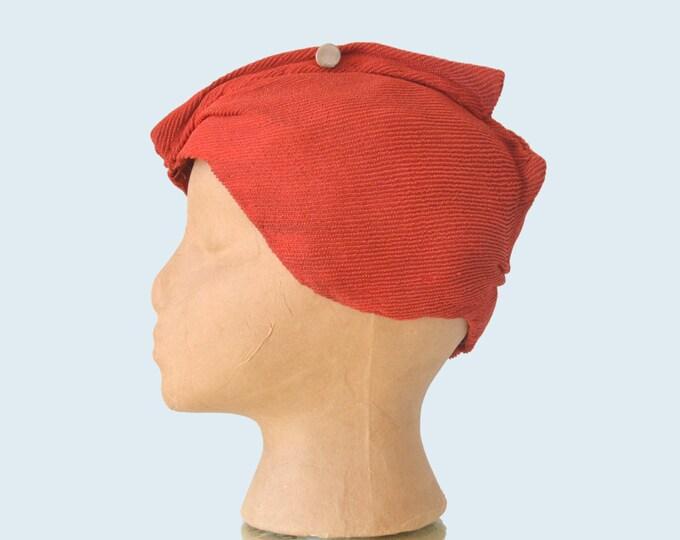 1930s Red Turban Cloche Hat