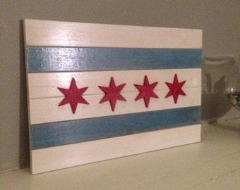 Wooden Chicago Flag