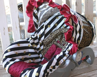 black Stripes w/ gold polka dots with leopard cotton hood w/maroon ruffle and bow, black stripes w/ maroon minky center seat cover
