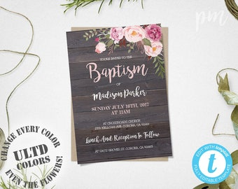 Baptism Invitation Template, Christening Invite Template, Instant Download Baptism Invite, Girl Baptism, Rustic Floral Baptism