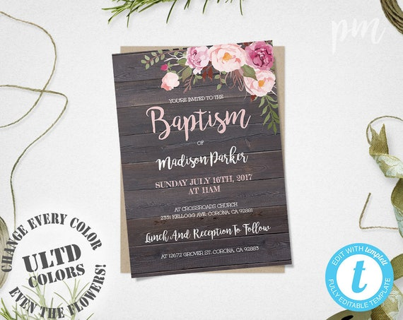 Baptism Invitation Template Christening Invite Template