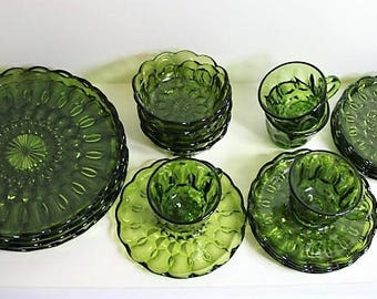 Fairfield Anchor Hocking Avocado Green Set of 4 of Each -  Dinner Plates, Salad Plates, Bowls, Cups and Saucers