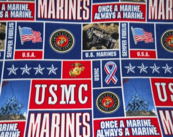 US Marines - Blanket Made with United States Marines Fleece - Fleece Blanket - Made to Order