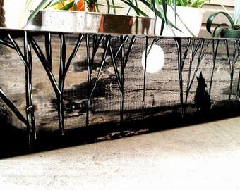 Wolf and the Moon, wood slab art