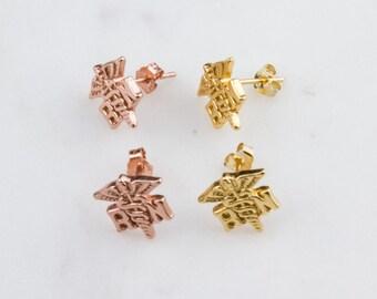 Registered Nurse Stud Earrings in Gold Plated or Rose Gold Plated, Nurse Jewelry, RN Stud Earrings, Medical Earrings, Stud Earrings, SER341