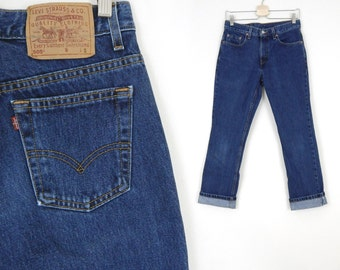 Vtg 90s Levi's 505 Size 7 Short Women's Boyfriend Jeans - Straight Leg Blue Denim Jeans Made in USA - Size 7 Short