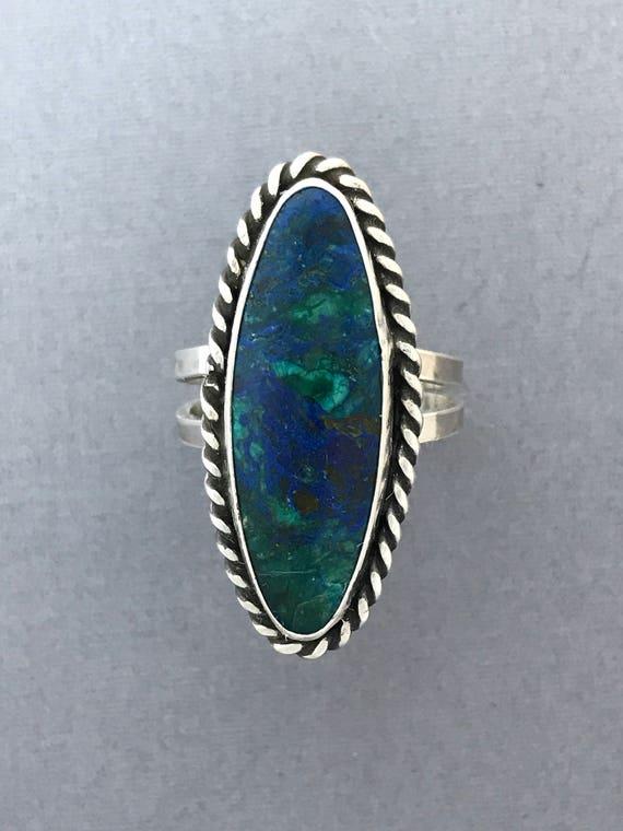 Azurite and malachite ring