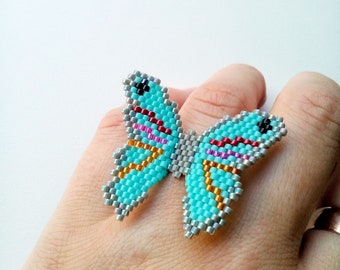 Beaded butterfly ring, turquoise butterfly ring, peyote ring, Delica Miyuki seed bead ring, statement ring, girly gift, gift for art lover