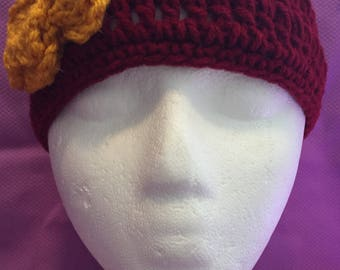 SALE! Girls Burgundy and Gold Crocheted Beanie with Flower and Button One Size Fits Most Ages 3-9 638G
