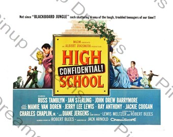 Vintage Rock n Roll Poster Wall Art Print High School Confidential re-print Various Sizes