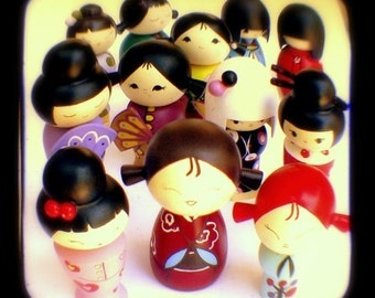 Kokeshi Kawaii Photography 5x5 TtV Colorful Japanese Doll Figurines Photograph Cute Cheerful Decor Photo Print for Girls Room Nursery Room