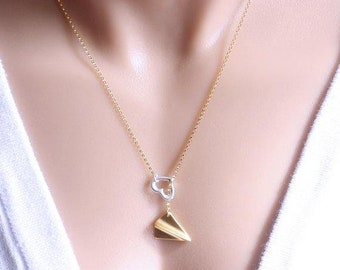 Gold Plane Necklace, one direction necklace, One Direction to my Heart, Harry Styles necklace, Gold Lariat Necklace plane necklace