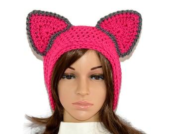 Cat beanie,Cat Ears Beanie,Pussy Cat Hat,Crochet Cat Ears,Trending Winter Hats,Chunky Cat Hat,kitty beanie,Pussy Hat,pink cat beanie ON SALE