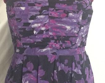 1990s strapless chiffon mini dress. Floral pattern in purple and black. Size 16
