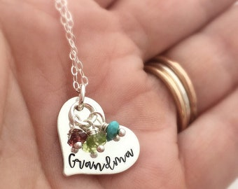Grandma Gift for Mother's Day - Personalized Gift for Nana - Personalized Necklace with birthstones - Gift for Mom - Mother's Necklace