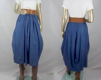 Lagenlook, skirt, denim look, blue, plus size, maxi, balloon, bubble, shabby chic, summer Sizes XS- XXL. Free shipping in USA