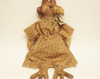 Primitive Chicken Doll, Primitive Animals, Country Farmhouse Decor, Primitive Hens