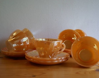 Fire King Anchor Hocking tea cups and saucers
