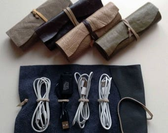 Leather Cable Organizer USB Organizer Cable Holder Travel Case Cable Wrap Leather Wrap Handmade Other Color Options Available Gift for Him