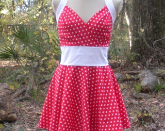Retro Halter Dress in Red and White Polka Dots - Made-to-Order in Any Size - Available with Black Trim for Minnie Mouse Cosplay- Red or Pink